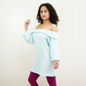 80s 90s Retro Blue Off Shoulder Sweater Dress SM